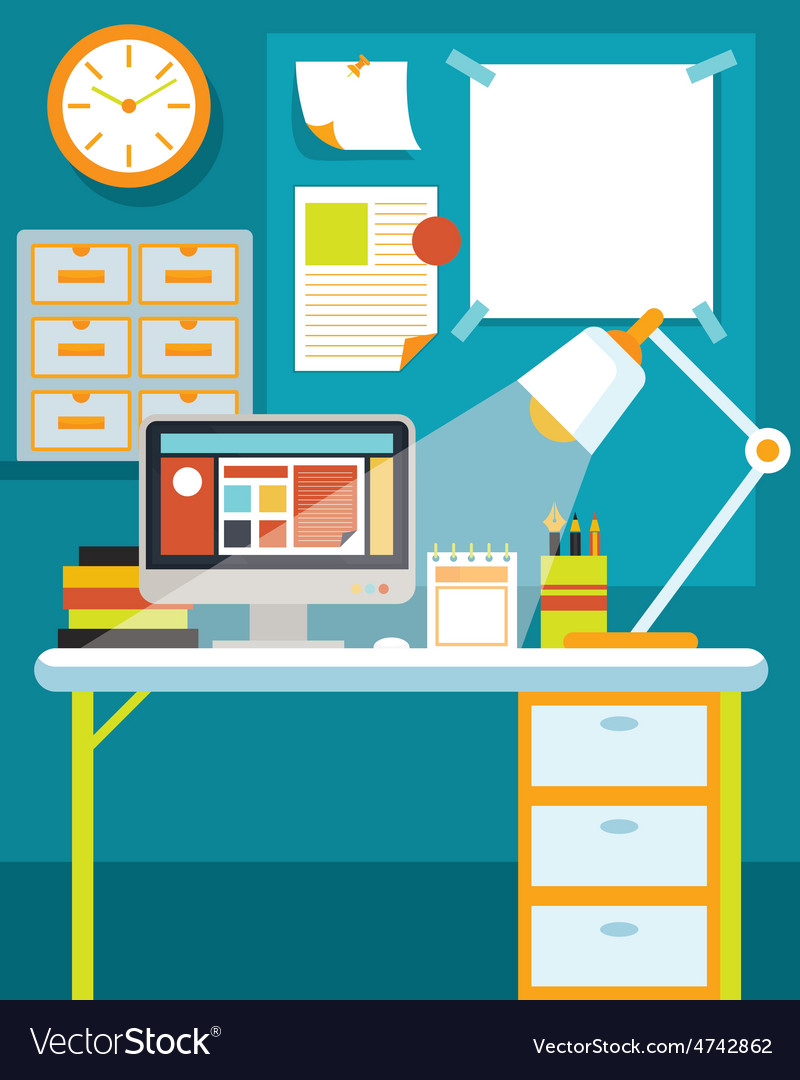 Office room with desk and office supplies vector   Price: 3 Credit (USD $3)