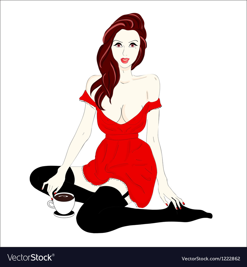 Pin-up style portrait of beautiful brunette girl vector | Price: 1 Credit (USD $1)