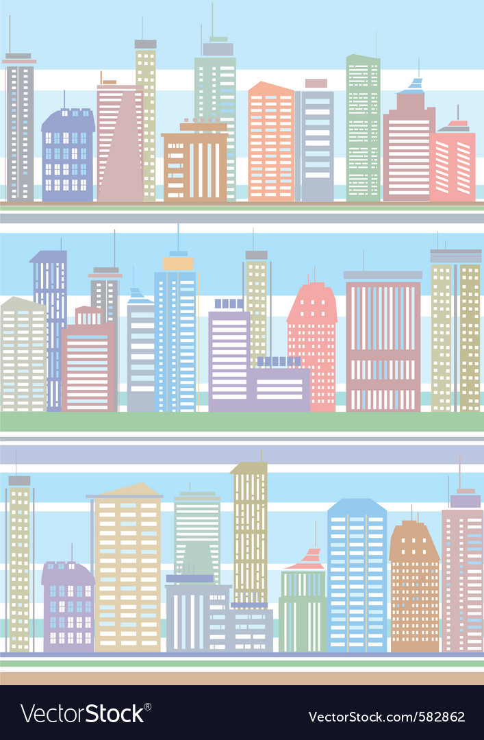 Seamless buildings pattern vector | Price: 1 Credit (USD $1)