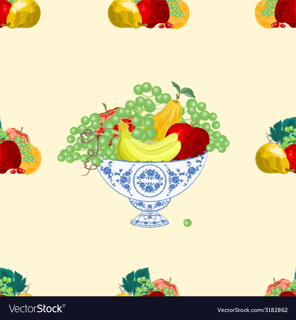 Seamless texture fruit faience bowl healthy food vector | Price: 1 Credit (USD $1)