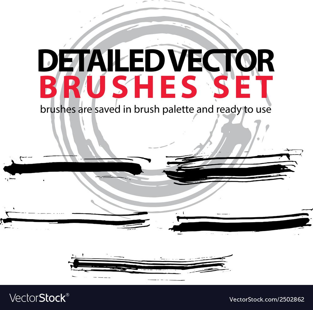 Set of grunge detailed hand-painted brushstrokes vector | Price: 1 Credit (USD $1)