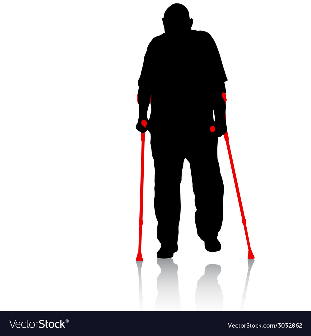 Silhouette of disabled people on a white vector | Price: 1 Credit (USD $1)