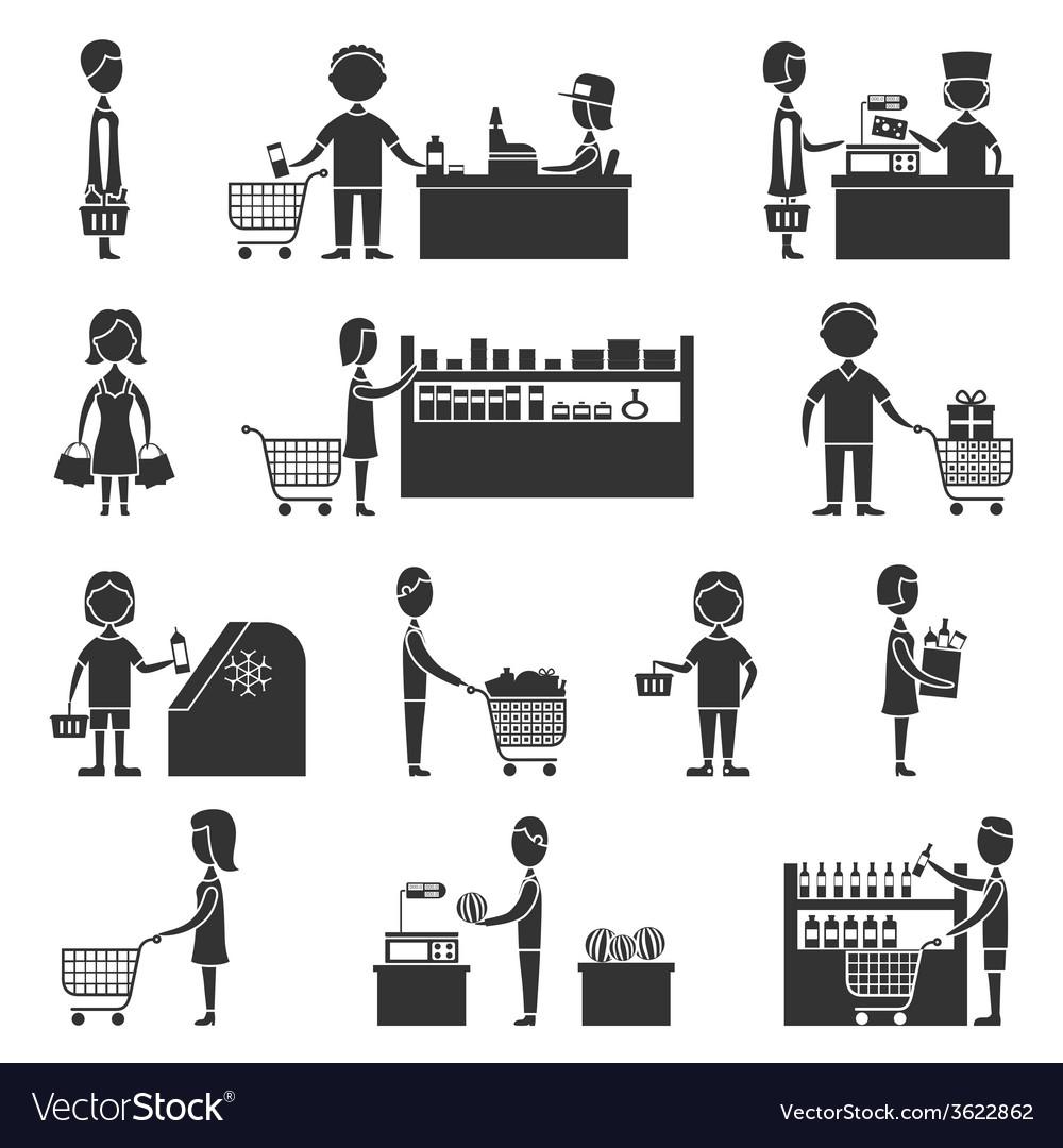 Supermarket people set vector | Price: 1 Credit (USD $1)