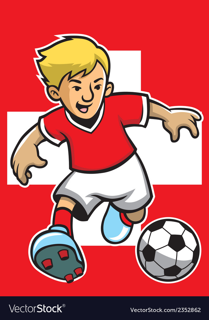 Switzerland soccer player with flag background vector | Price: 1 Credit (USD $1)