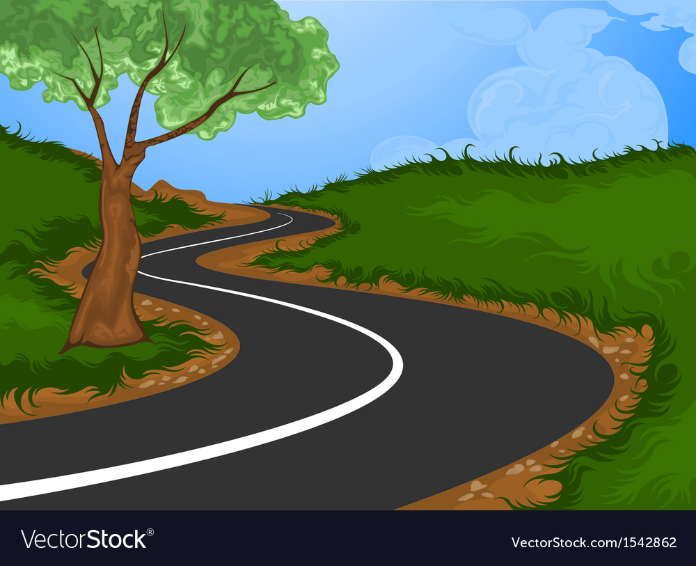 Tree with the road into the countryside vector | Price: 1 Credit (USD $1)