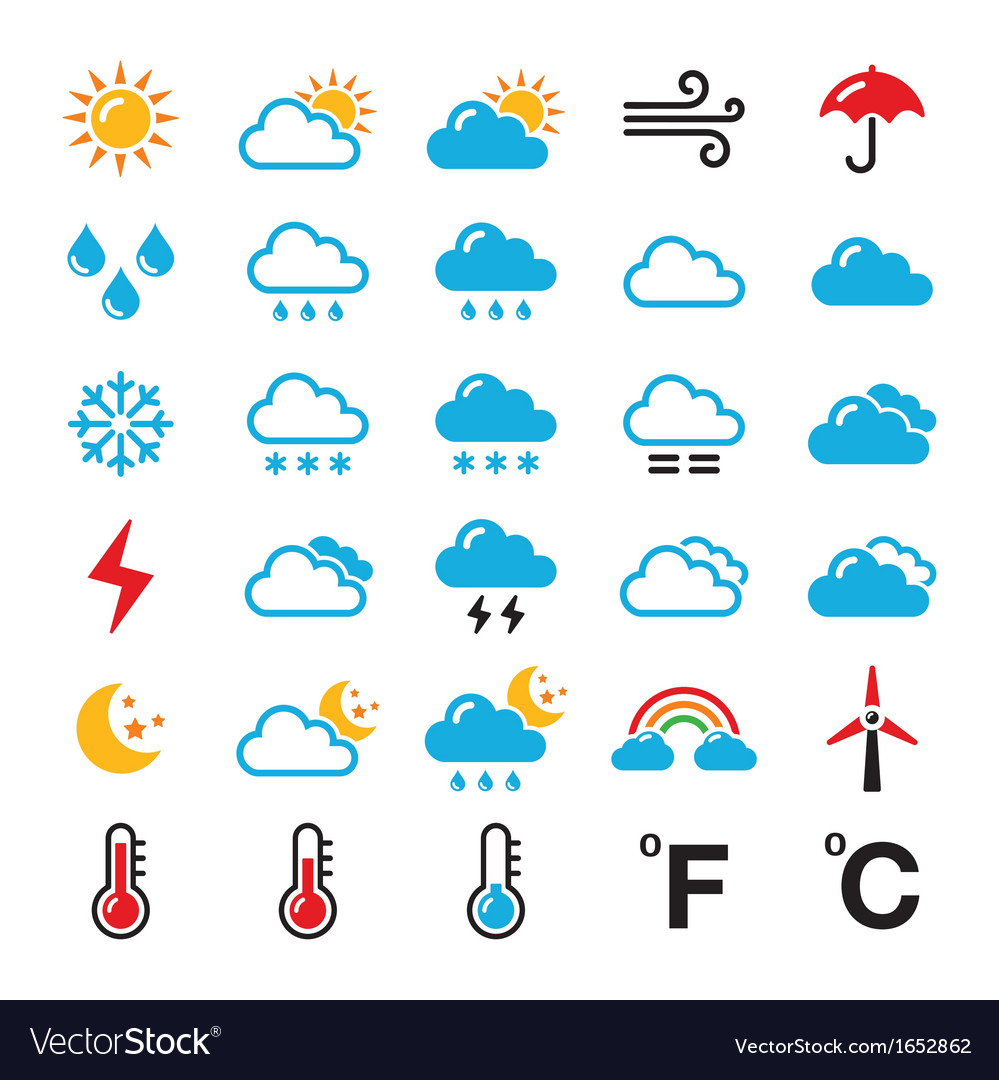 Weather forecast colorful icons set vector | Price: 1 Credit (USD $1)