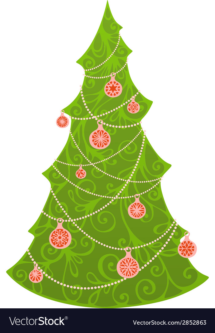 Christmas tree isolated on white background vector | Price: 1 Credit (USD $1)
