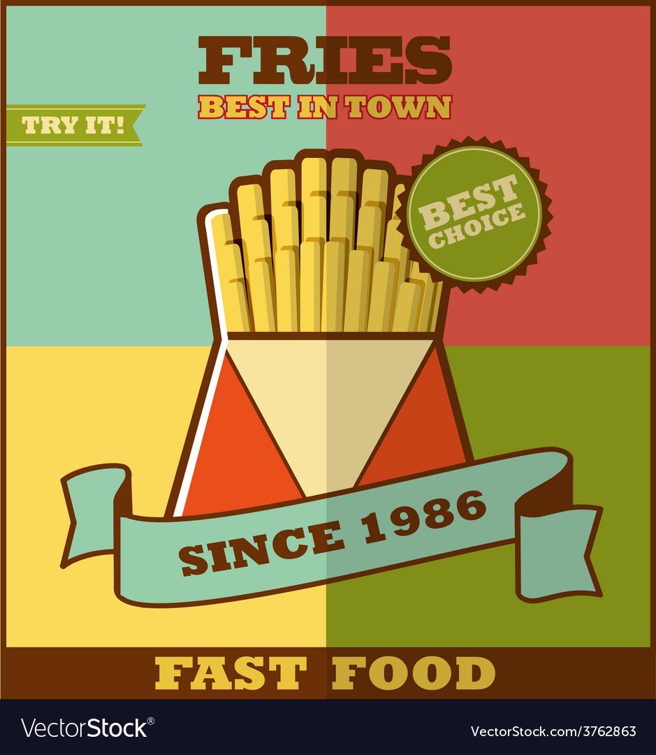 Fast food menu hot fries vector   Price: 1 Credit (USD $1)