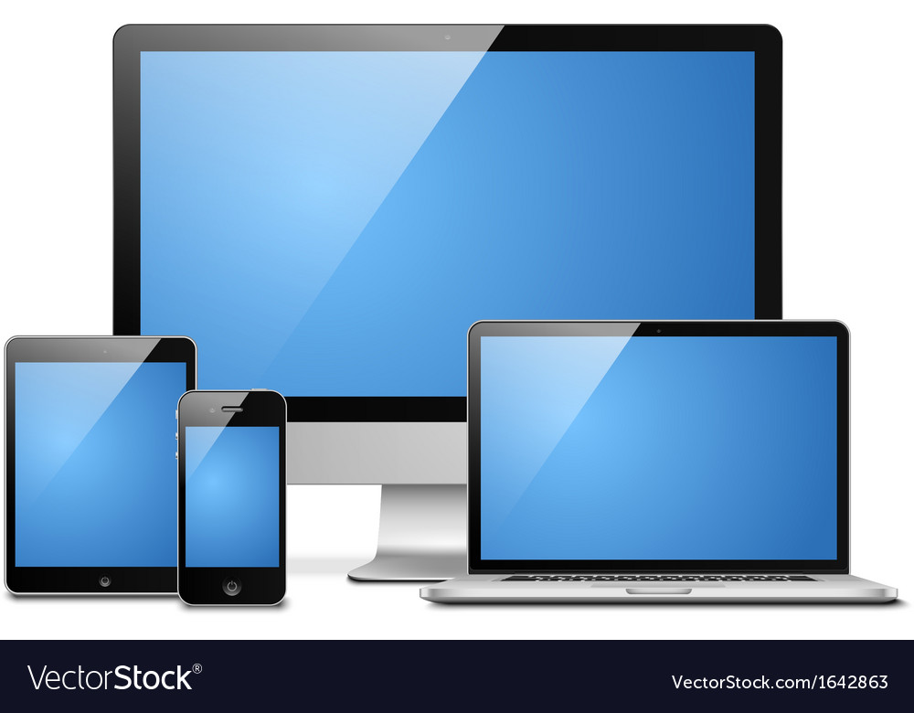 Laptop tablet desktop mobile vector | Price: 1 Credit (USD $1)