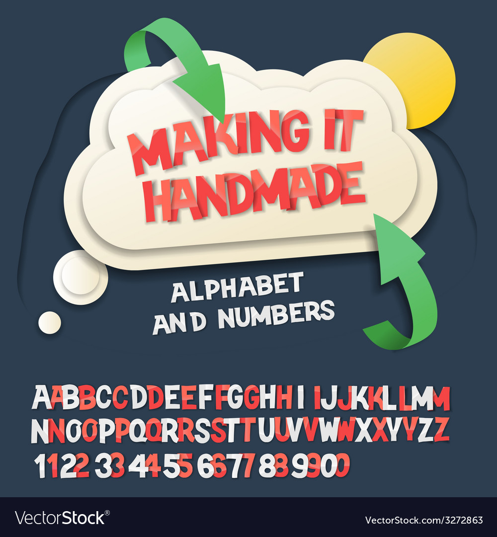 Paper alphabet letters and numbers with cloud vector | Price: 1 Credit (USD $1)