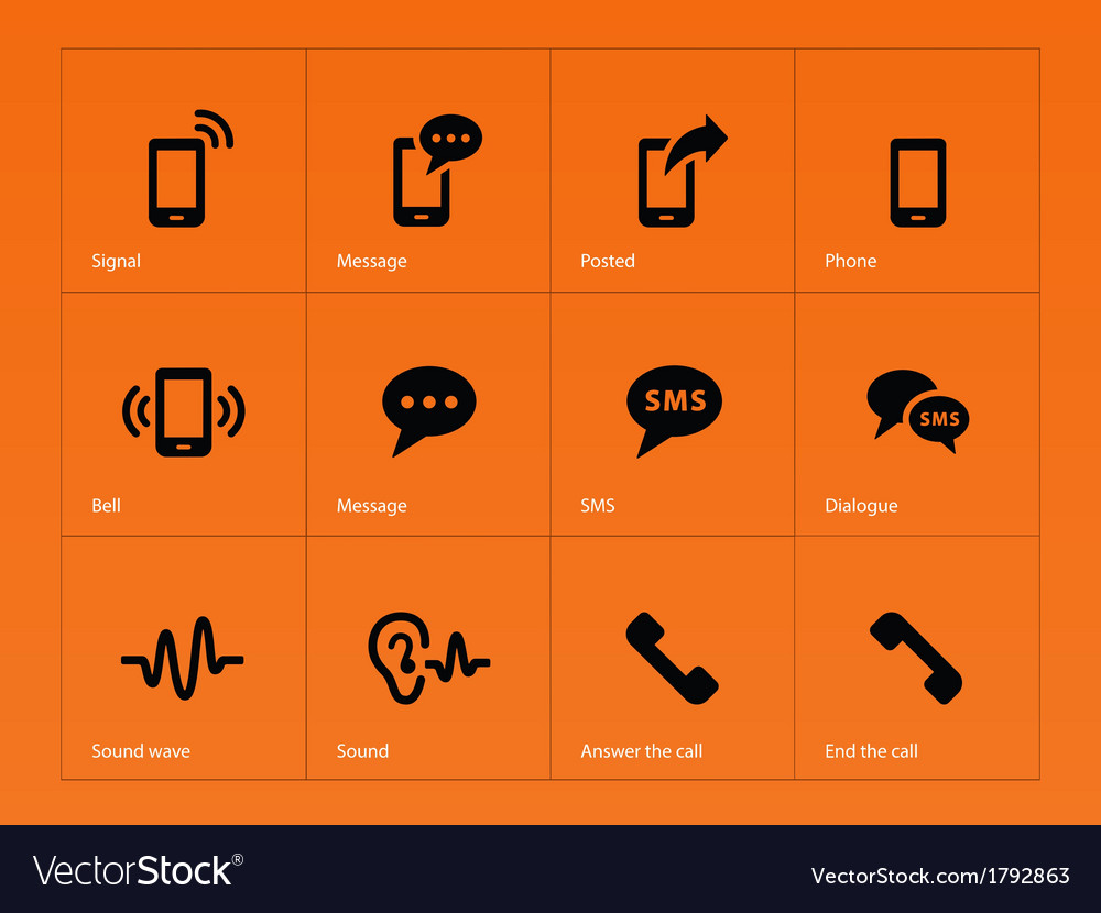 Phone icons on orange background vector | Price: 1 Credit (USD $1)