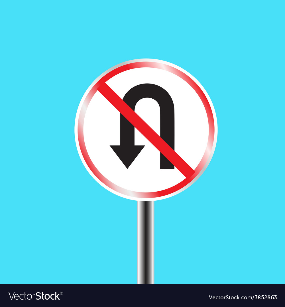 Prohibitory traffic sign u turn prohibited vector | Price: 1 Credit (USD $1)