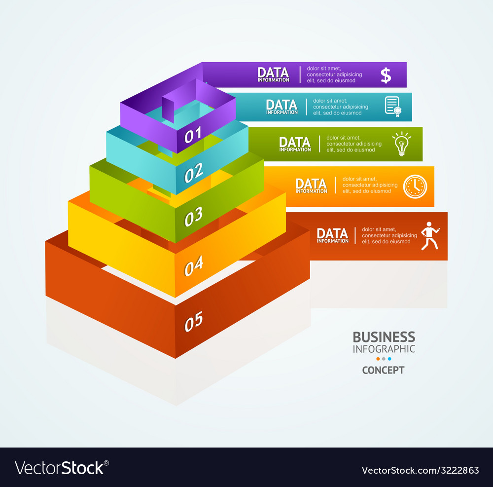 Pyramid chart for infographics design vector | Price: 1 Credit (USD $1)