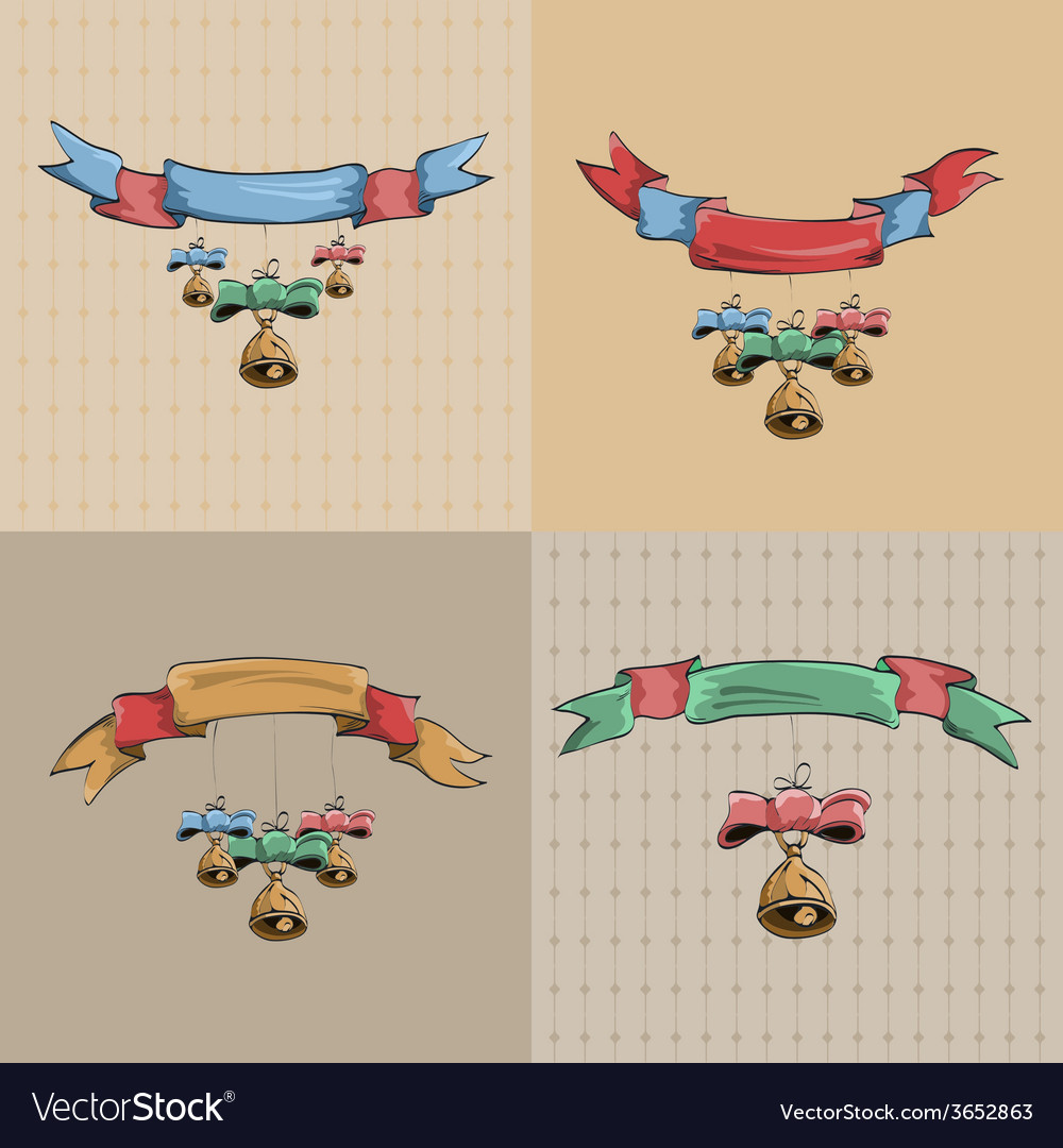 Set of vintage ribbons and bells vector   Price: 1 Credit (USD $1)