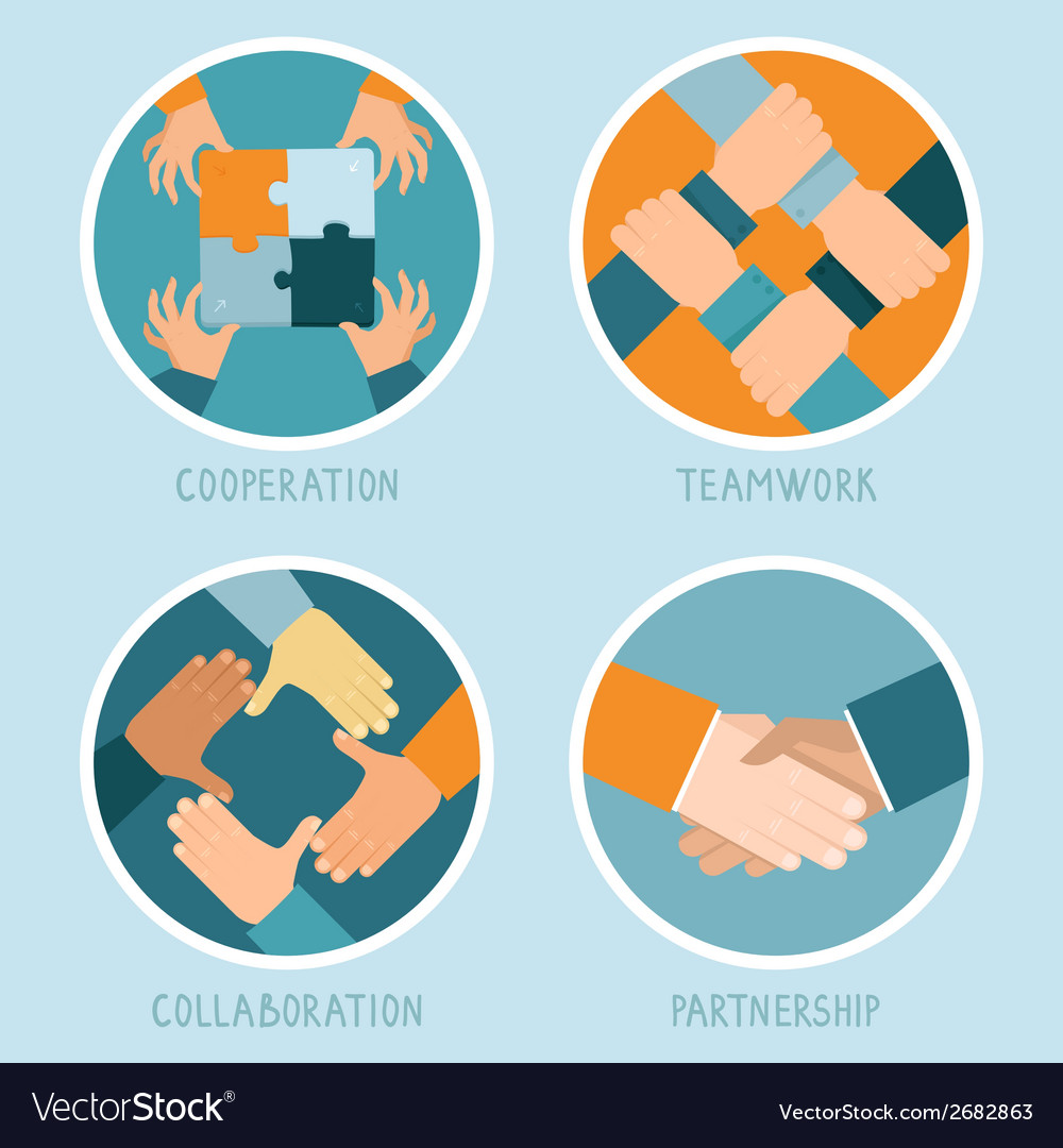 Teamwork and cooperation concept vector | Price: 1 Credit (USD $1)