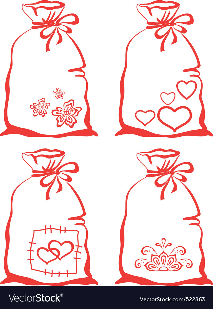 Valentine symbol on bag set vector | Price: 1 Credit (USD $1)
