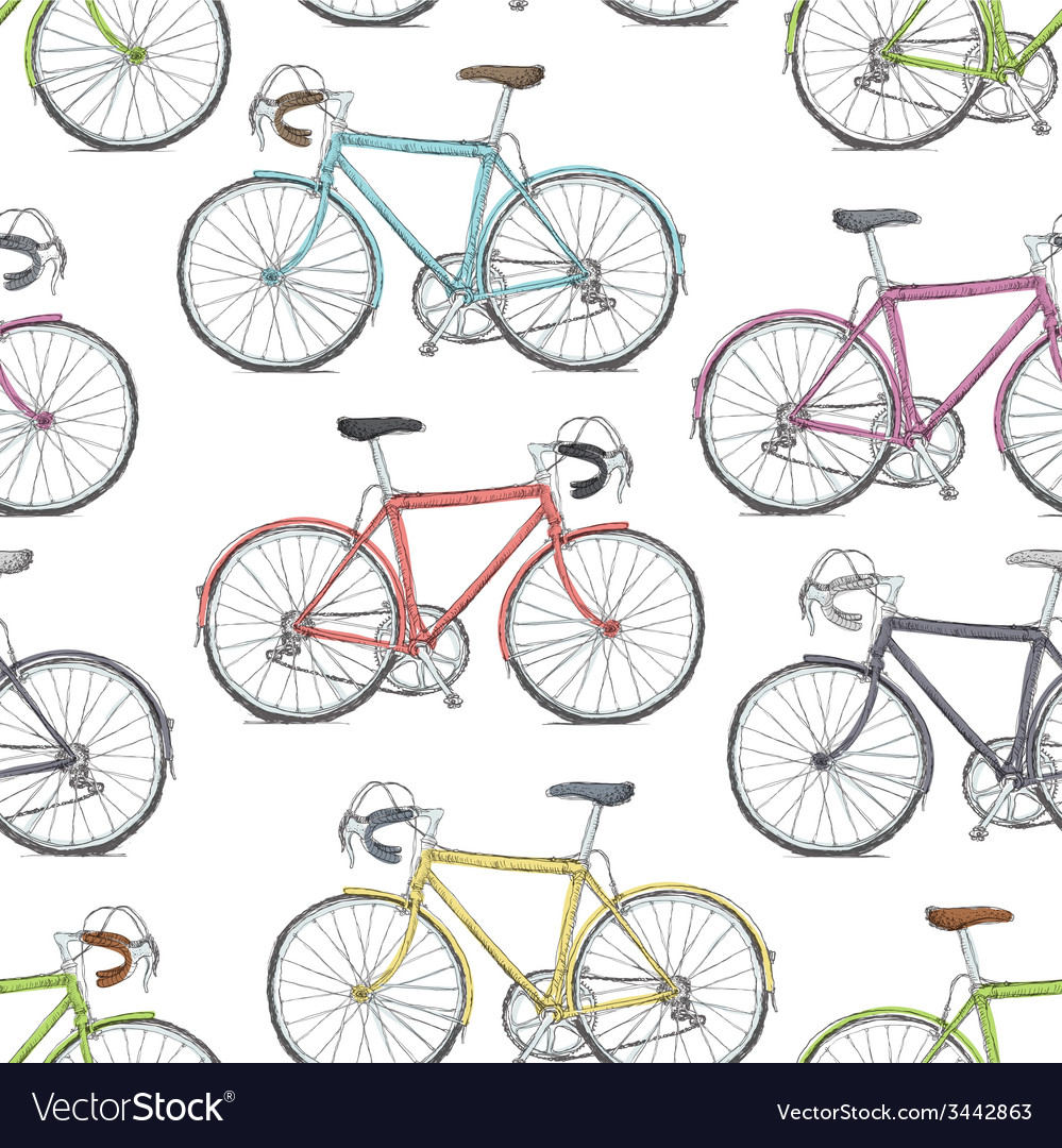 Vintage road bicycle seamless pattern hand drawn vector | Price: 1 Credit (USD $1)