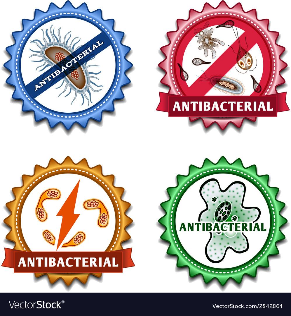 Antibacterial badges set vector | Price: 1 Credit (USD $1)
