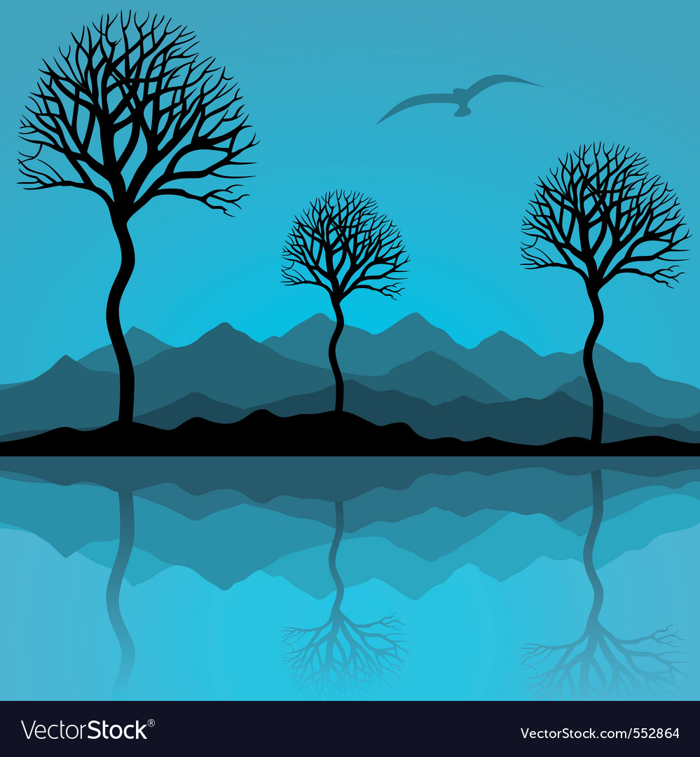 Are reflected in lake a vector illustration vector | Price: 1 Credit (USD $1)