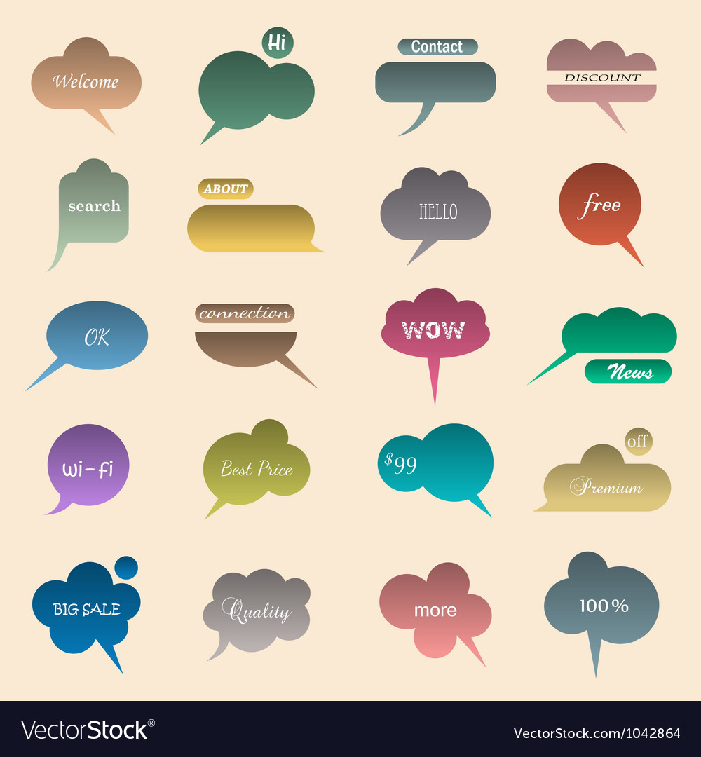 Collection of various bubbles for speech vector | Price: 1 Credit (USD $1)