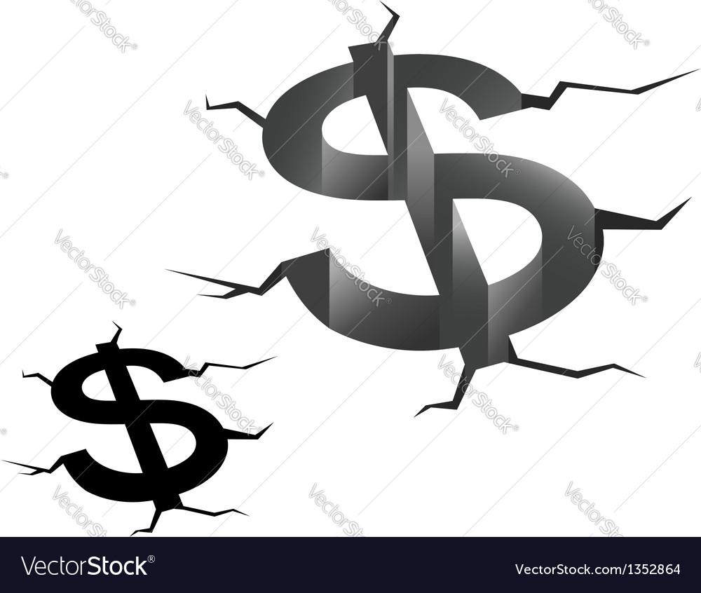Crash of american dollar vector | Price: 1 Credit (USD $1)
