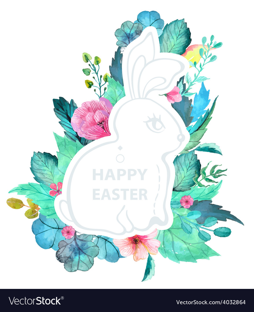 Easter watercolor natural with rabbit sticker vector | Price: 1 Credit (USD $1)