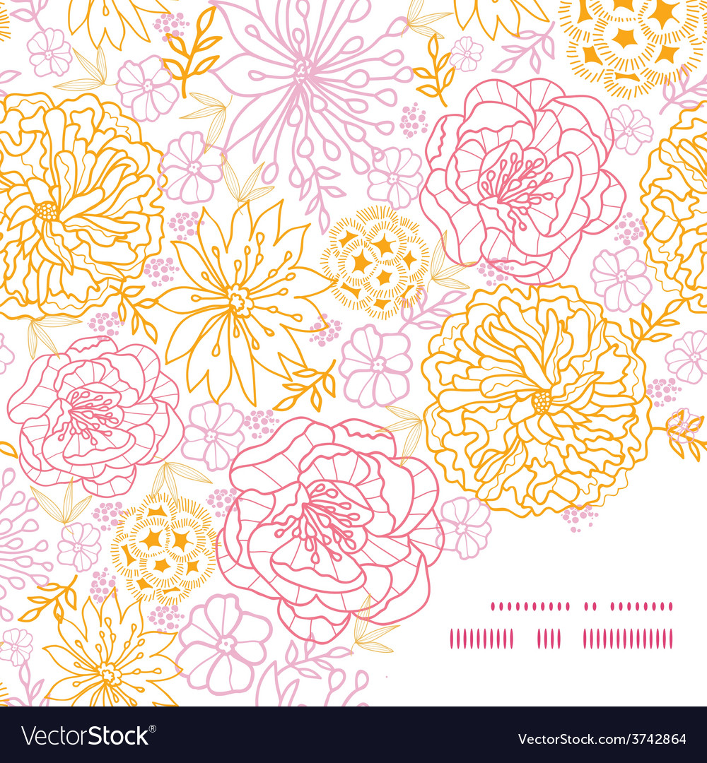 Flowers outlined frame corner pattern vector | Price: 1 Credit (USD $1)