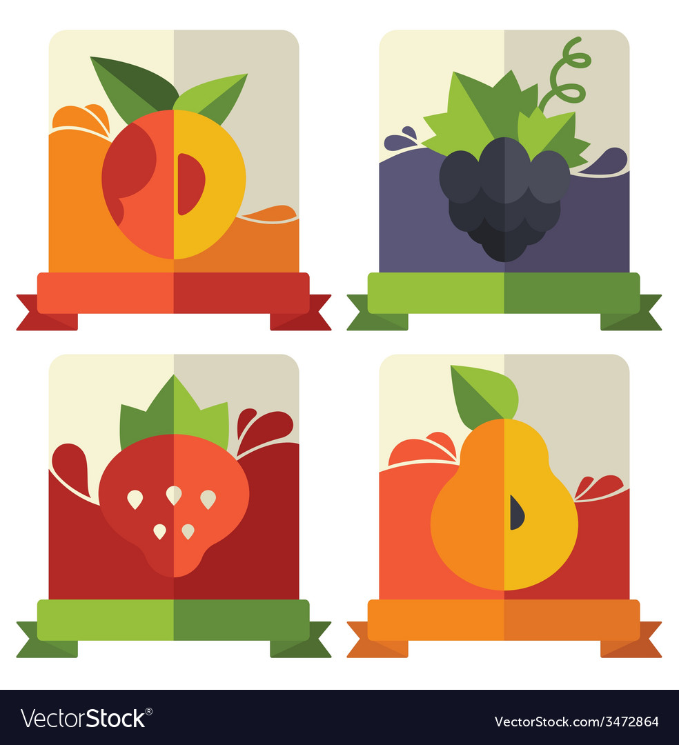 Fruit and berries emblems vector | Price: 1 Credit (USD $1)
