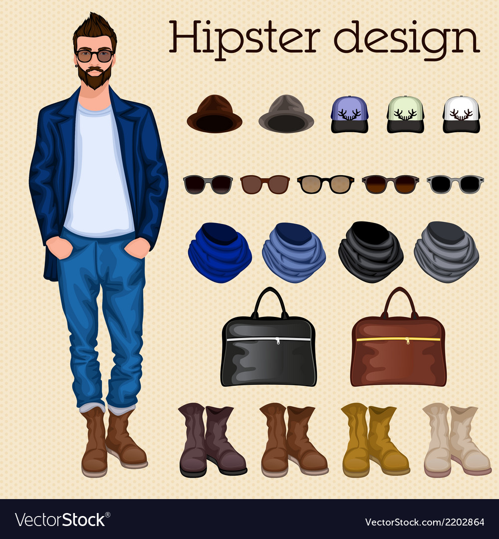 Hipster guy elements vector | Price: 1 Credit (USD $1)