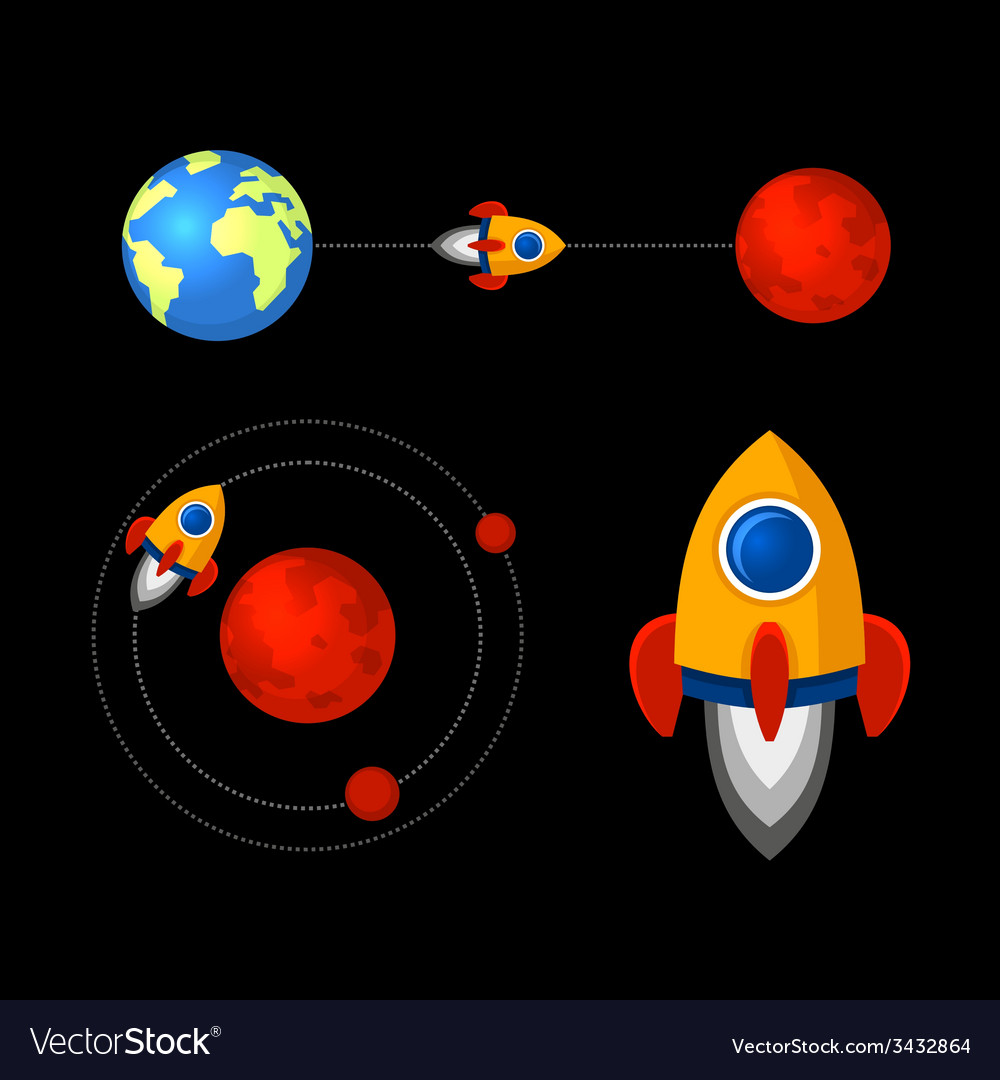 Mission to mars icons set vector   Price: 1 Credit (USD $1)
