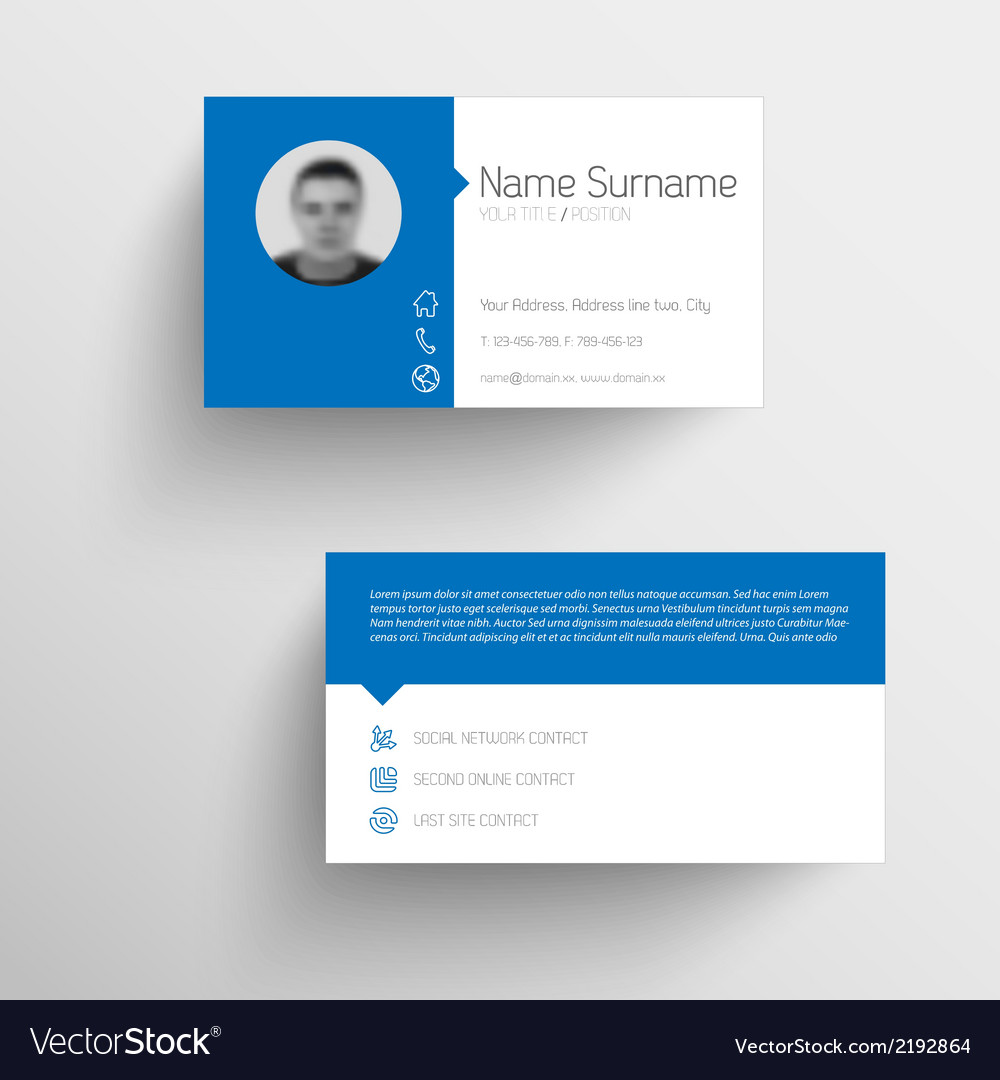 Modern blue business card template with flat user vector | Price: 1 Credit (USD $1)
