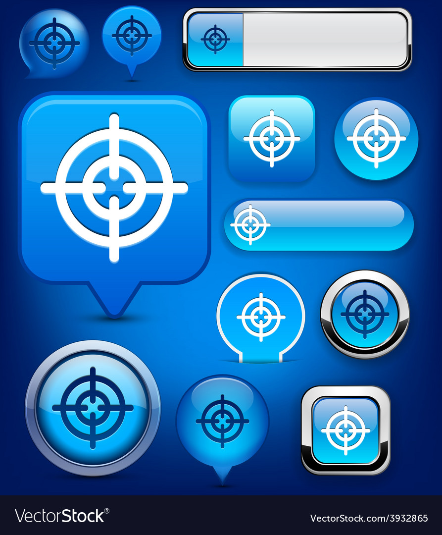 Aim high-detailed modern buttons vector | Price: 1 Credit (USD $1)