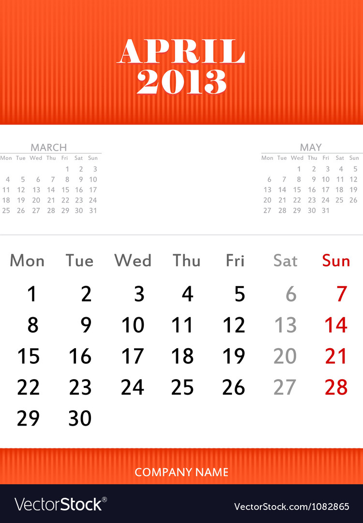 April 2013 calendar design vector | Price: 1 Credit (USD $1)