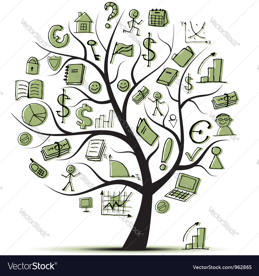 Art tree concept with business icons vector | Price: 1 Credit (USD $1)