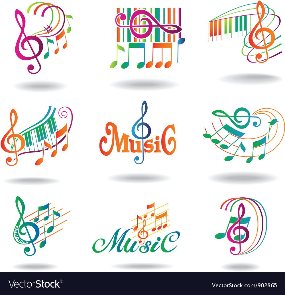 Colorful music notes set of music design elements vector | Price: 3 Credit (USD $3)