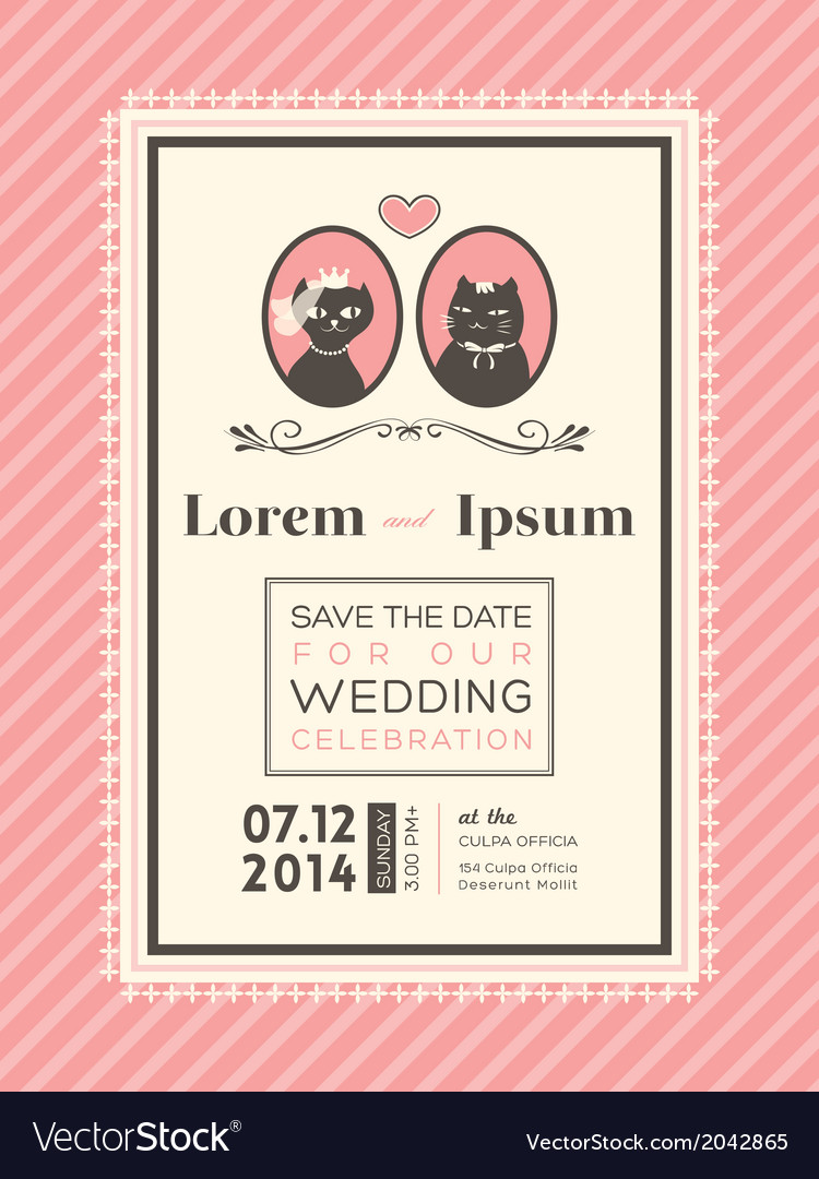 Cute wedding invitation design frame template vector | Price: 1 Credit (USD $1)