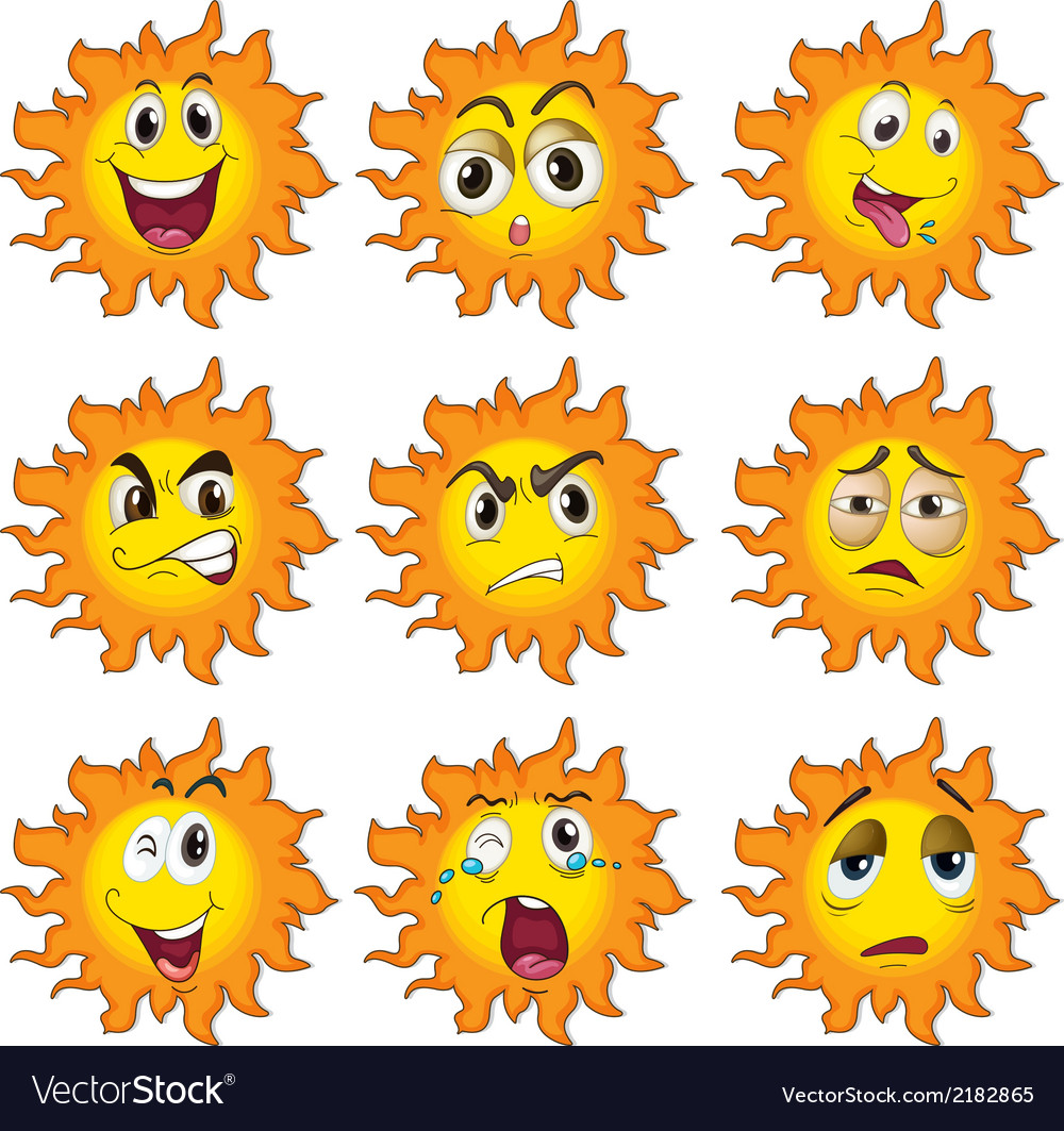 Different facial expressions of the sun vector | Price: 1 Credit (USD $1)