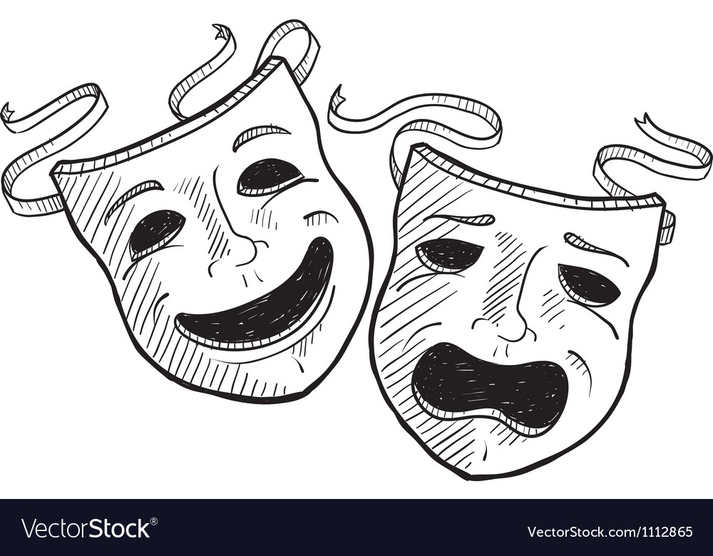 Doodle drama masks vector | Price: 1 Credit (USD $1)