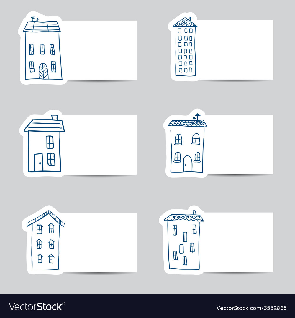 Houses doodles on small cards vector | Price: 1 Credit (USD $1)