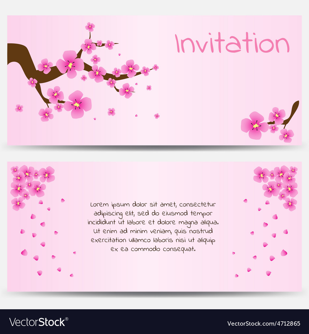 Invitation design template blooming sakura on pink vector   Price: 1 Credit (USD $1)