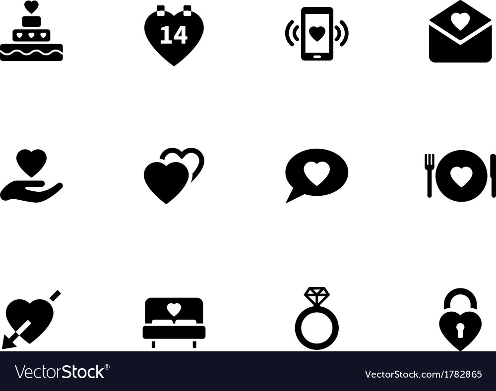 Love icons on white background vector | Price: 1 Credit (USD $1)