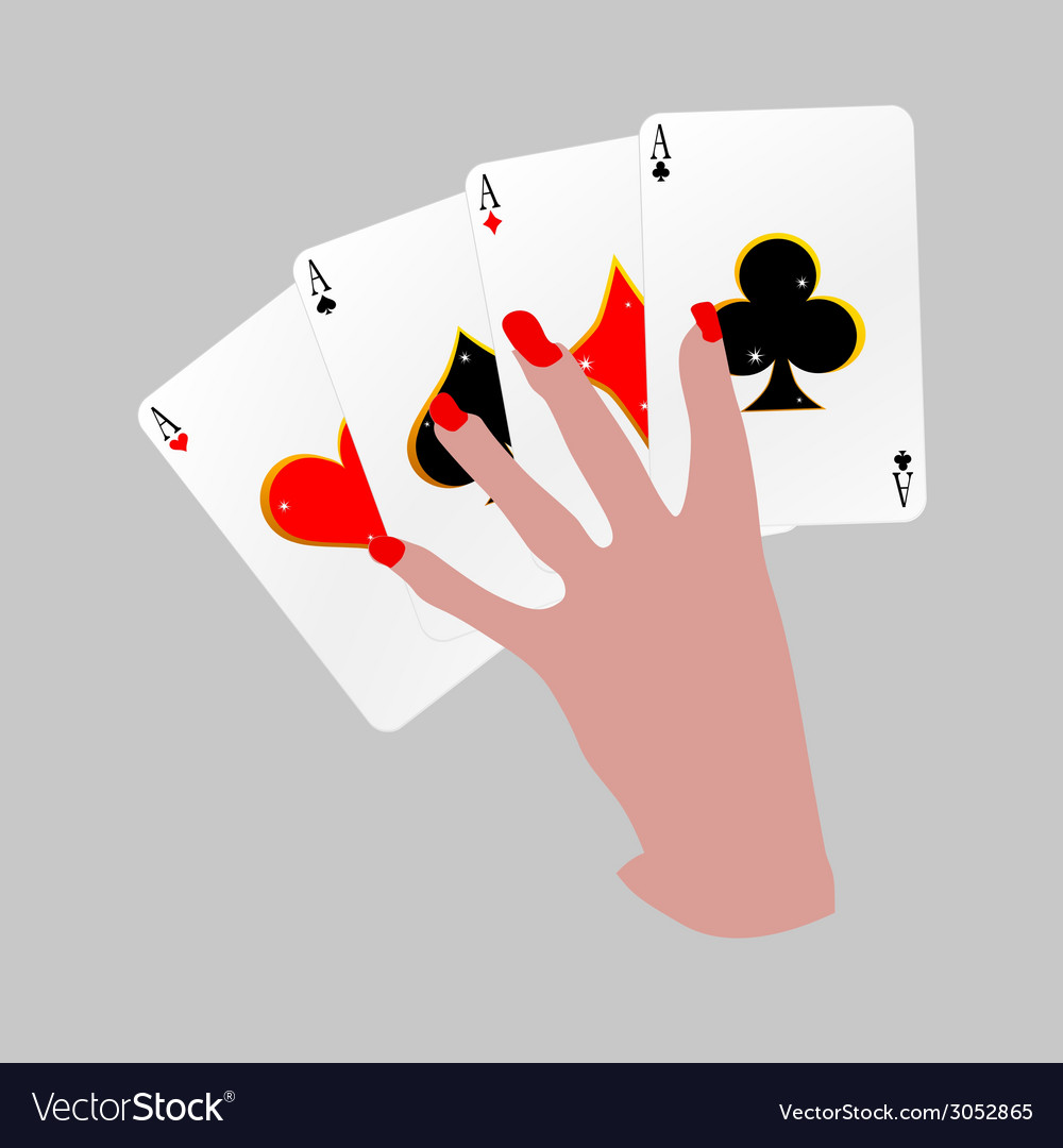 Poker with four aces in hand vector | Price: 1 Credit (USD $1)