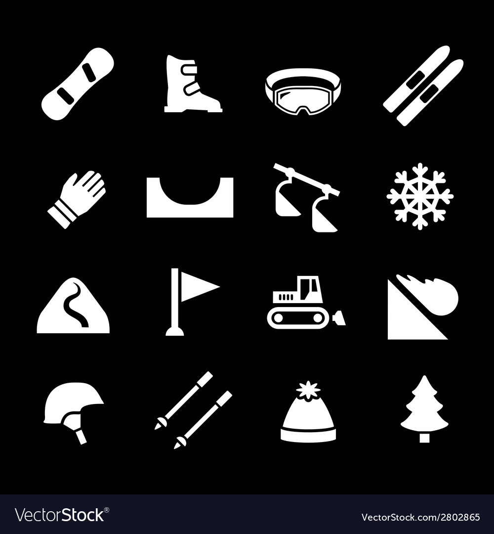 Set icons of skiing and snowboarding vector | Price: 1 Credit (USD $1)
