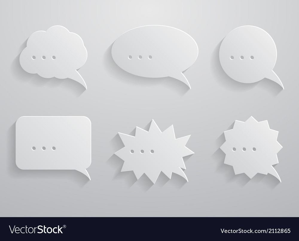Set of paper speech bubbles vector | Price: 1 Credit (USD $1)