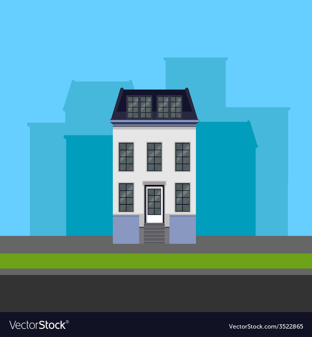 Townhouse in flat polygonal style vector | Price: 1 Credit (USD $1)