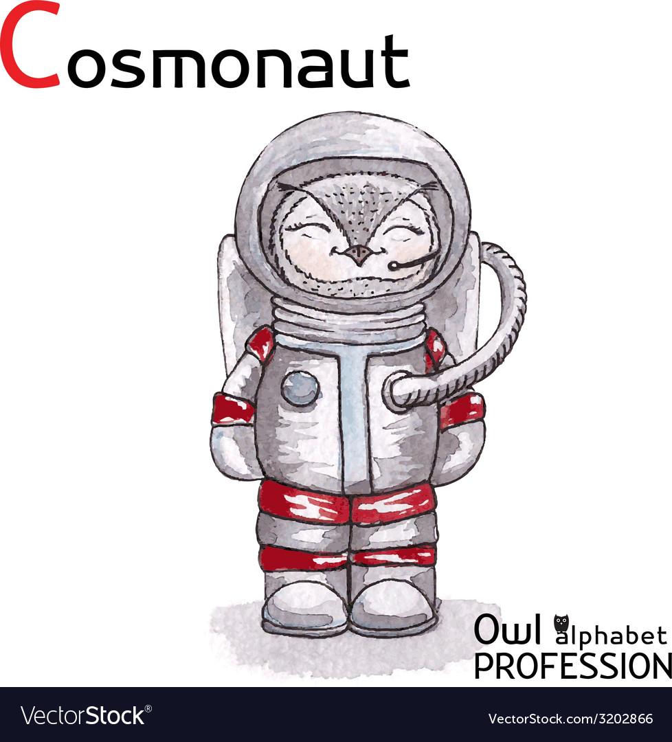 Alphabet professions owl letter c - cosmonaut vector | Price: 1 Credit (USD $1)