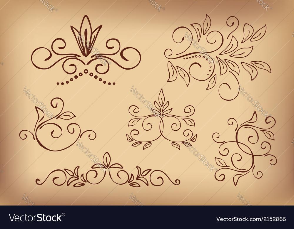 Brown floral design elements - set vector | Price: 1 Credit (USD $1)