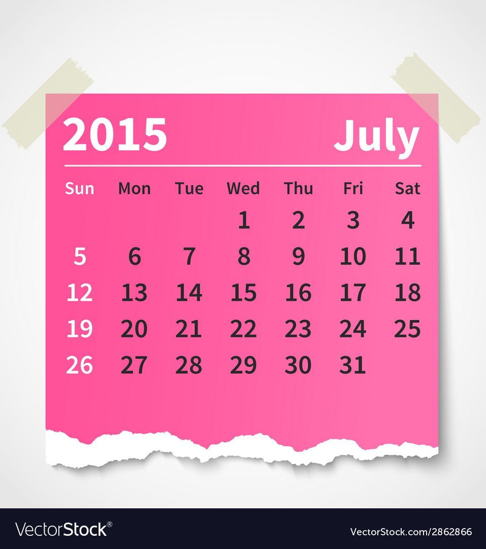 Calendar july 2015 colorful torn paper vector | Price: 1 Credit (USD $1)