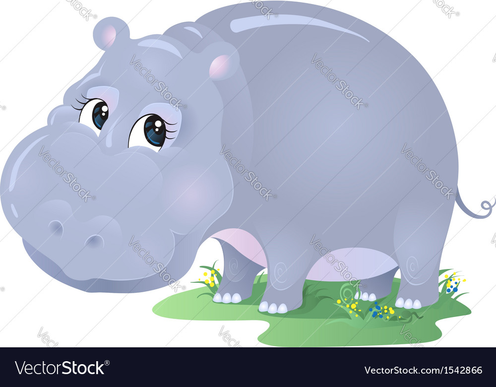Cartoon animal hippo isolated on white vector | Price: 1 Credit (USD $1)