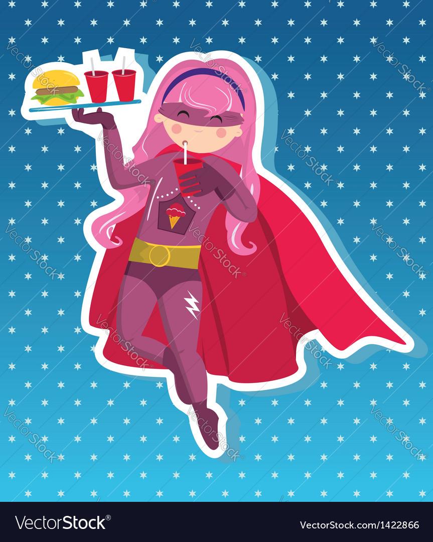 Fast food superhero girl cartoon vector | Price: 1 Credit (USD $1)